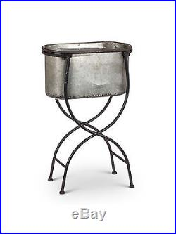 15 X 8 Galvanized Metal Oval Bucket Planter With Black Iron Stand