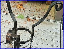 1920s WROUGHT IRON plant stand vtg metal bowl antique garden planter sculpture