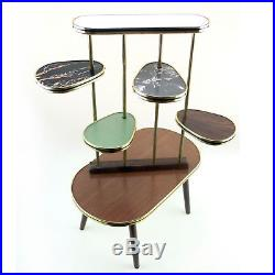 1950s Coffee Table Plant Stand Blue Gray Tiles Metal Gold Vintage Mid-Century