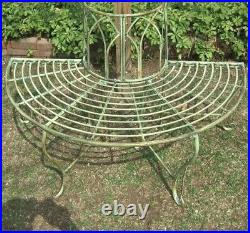 1/2 Round Tree Bench/Plant Stand Wrought Iron Antique Mint Green Finish