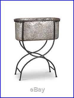 23 X 10 Galvanized Metal Oval Bucket Planter With Black Iron Stand