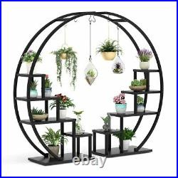 2Pack 5-Tier Plant Stand Bonsai Flower Pot Holder with 6 Hooks, Home Display Shelf