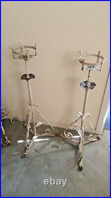 2X VICTORIAN PAINTED OIL LAMP STAND LAMP 180cm max with basket plant