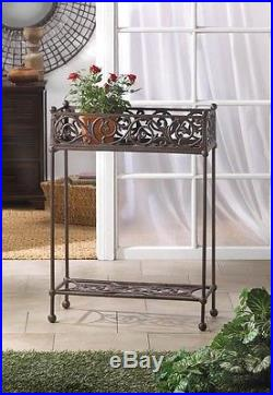 2 Beautiful Carved Flourished Design Rectangular Cast Iron Two Tier Plant Stands