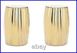 2 Gold Ceramic Stools, Side Tables, Plant Stands Bold Contemporary Look