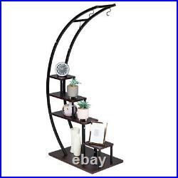 2 PACK 5 Tier Metal Plant Stand Creative Half Moon Shape Ladder Flower shelf