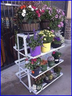 2 Sides 4 Tier Heavy Duty Metal Flower Pot Plant Stand Garden Decor Shelves Rack