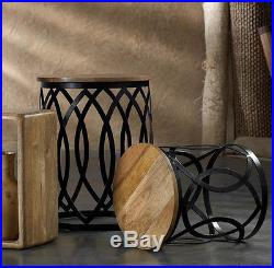 2 pc modern geometric black metal wood nesting end side table side plant stand
