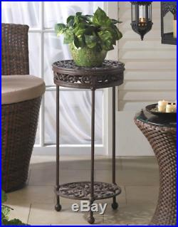 2tier Plant Stand Indoor Outdoor Cast Iron Round Shelf Patio Side Accent Tables