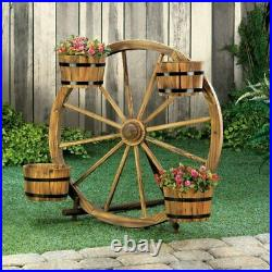 31 Tall Country Style Garden Planter Wood Wagon Wheel Flower Pot Plant Display
