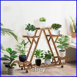 3-11 Tier Metal Wood Carbonized Plant Flower Stand Shelf Multiple Indoor Outdoor