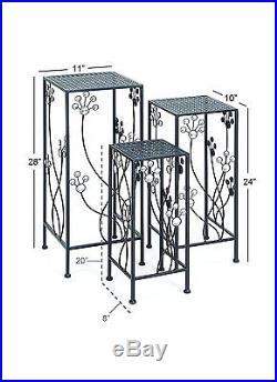 3 Pc Metal Indoor Outdoor Decorative Plant Stand Set Square Iron Floral Design