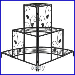 3 Tier Floral Corner Metal Plant Pot Rack 3 Step Tier Indoor Outdoor Plant Stand