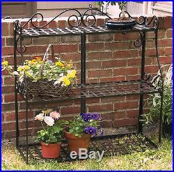 3 Tier Plant Stand Black Metal Frame Garden Decorative Planter Flower Shelf Rack