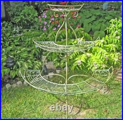 3-Tier Plant Stand Wrought Iron Antique Mint Green Finish