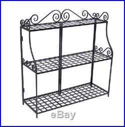 3 Tier Shelf Plant Stand Rack Indoor Metal Black Entryway Hallway Display Pot
