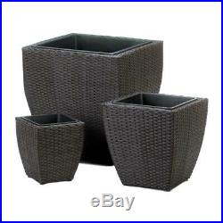 3 pc brown square wicker plastic LINED plant stand planter raised flower pot