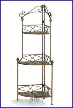 47 H Rustic Metal & Wood Corner Bakers Rack 3 Display Shelves Antiqued Finish