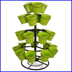 4 Tier 30 Flower Pots Revolving Balcony Garden Plant Metal Planter Home Decor
