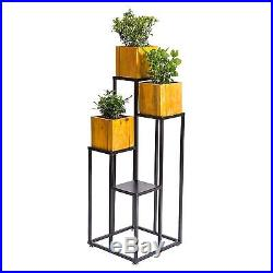 4-Tier Large Multilevel Black Metal Planter Stand Decorative Shelf Display Rack