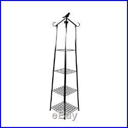 4 Tier Metal Plant Stand Display Shelf Flower Rack with Solar Light Bird Garden