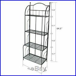 4-Tier Metal Plant Stand Rack Display Shelf Outdoor Indoor Storage Organizer