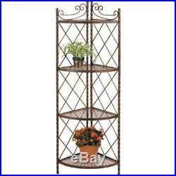 4 Tier Plant Stand Indoor Outdoor Corner Garden Steel Frame Decorative Shelf Rac