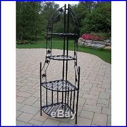 4-Tier Wrought Iron Corner Metal Planter Stand Rack Black Garden Home Decor