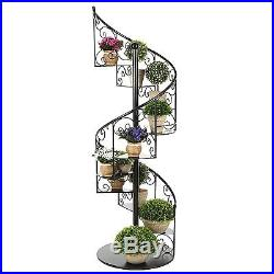 55 In Black Metal Scrollwork Winding Staircase Design Plant Display Shelf Stand