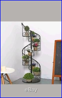 55 in Black Metal Scrollwork Winding Staircase Plant Picture Display Shelf Stand