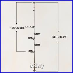 5 Layer Tension Pole Plant Stands Indoor Metal Flower Display Rack Hanging Shelf
