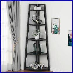 5 Tier Corner Shelf Home Rustic Corner Storage Rack Plant Stand Small Bookshelf