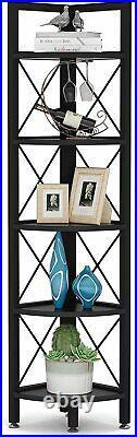 5 Tier Corner Shelf, Rustic Corner Bookshelf Corner Storage Rack Plant Stand us