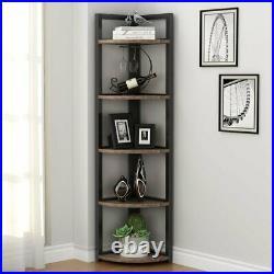 5 Tier Corner Shelf, Rustic Corner Storage Rack Plant Stand Small Bookshelf US