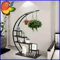 5 Tier Modern Metal Plant Stand Indoor Curved Display Shelf Garden Patio Home
