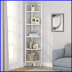 5 Tier Rustic Corner Bookshelf Small Bookcase Corner Storage Rack Plant Stand BY