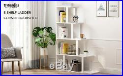 5 Tiers Wood Corner Flower Pot Rack Ladder Style Plant Display Stand Shelf