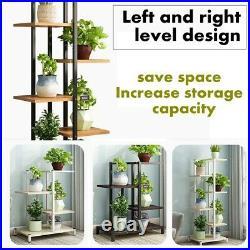 6 Tiers Plant Stand Metal Flower Rack Pot Shelf Indoor Garden Yard Decor Wood US