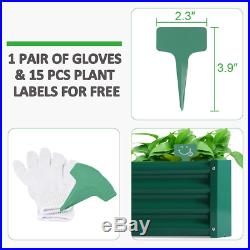 6 x 3 x 1ft Green Metal Raised Garden Bed With 1 Pair of Gloves And 15 Pcs Plant