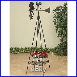 70H Metal Rooster Garden Windmill Plant Stand Yard Art Decoration Wind Spinner