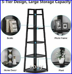70 Tall 5 Tier Rustic Corner Bookshelf Corner Ladder Shelf Plant Stand Bookcase