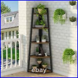 70 Tall 5 Tier Rustic Corner Bookshelf Corner Ladder Shelf Plant Stand US