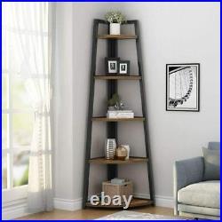 70 Tall Corner Shelf, 5 Tier Corner Bookcase Corner Ladder Shelf Plant Stand US