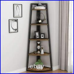 70 inch Tall 5 Tier Rustic Corner Bookshelf Corner Ladder Shelf Plant Stand JY