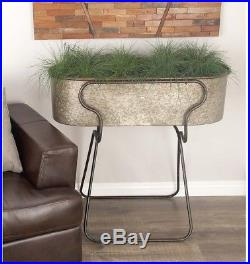 American Home 38 In Rustic Galvanized Iron Planter With Stand