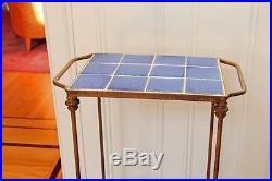 ANTIQUE IRON AND VINTAGE BLUE TILE TALL STAND Plant Stand