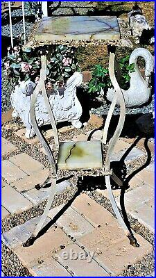 ANTIQUE Victorian Cast Iron Plant Fern Stand Table REMOVABLE ONYX INSERTS FAB