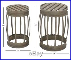 Accent End Tables Metal Barrels Rustic Industrial Style 2 Pc Iron Plant Stands
