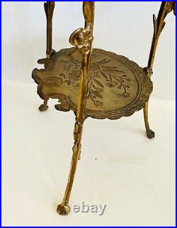 Antique 1880's French Victorian 2-Tier Gold Gilt Iron Brass Plant Stand NICE