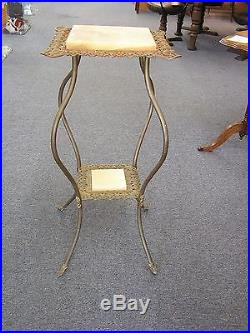 Antique 1900's Victorian Plant Fern Stand Marble Brass Metal 36 High RARE